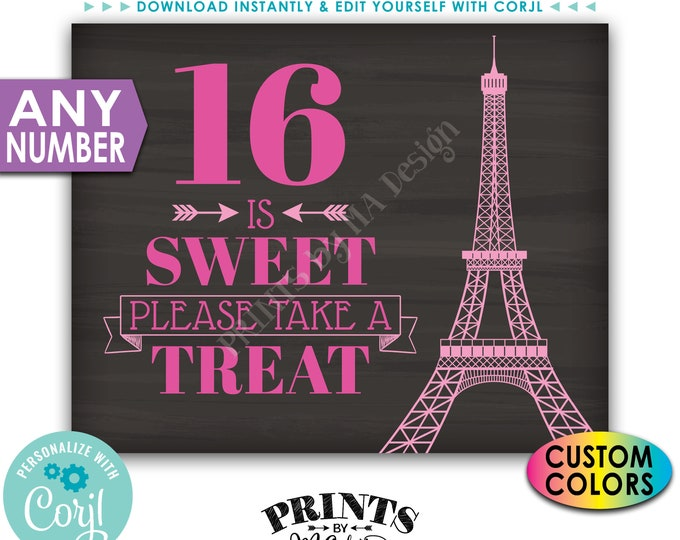 Paris Sweet Treat Sign, Please Take a Treat, Any Number, Custom PRINTABLE Chalkboard Style Eiffel Tower Sign <Edit Yourself with Corjl>