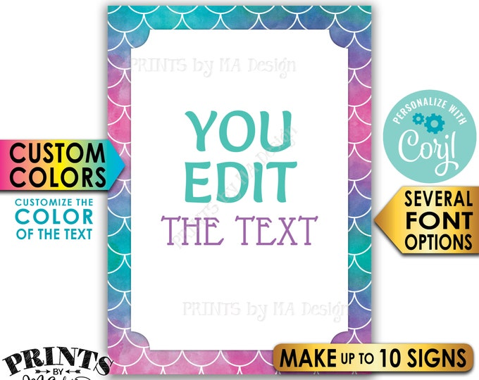 "Custom Mermaid Signs, Choose Your Text Mermaid Party, Create Up to 10 PRINTABLE 5x7"" Portrait Mermaid Signs <Edit Yourself with Corjl>"