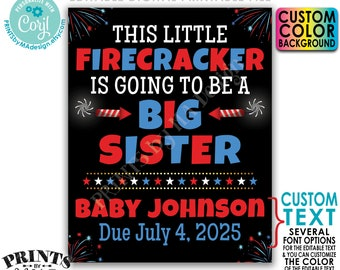 4th of July Pregnancy Announcement, Little Firecracker is Going to be a Big Sister, Custom PRINTABLE Baby #2 Sign <Edit Yourself w/Corjl>