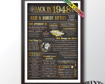 """Flashback in 1948 Wedding Anniversary Gift, Married in 1948 Anniversary Poster, Custom PRINTABLE 24x36"""" Flashback 1948 Sign"""