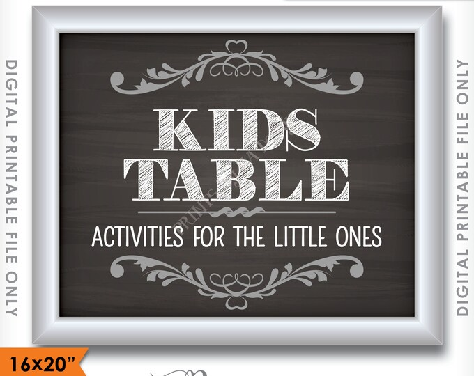 "Kids Table Sign, Kids Table Wedding Sign, Activities for Kids, Chalkboard Style, 16x20"" or 8x10"" Instant Download Digital Printable File"