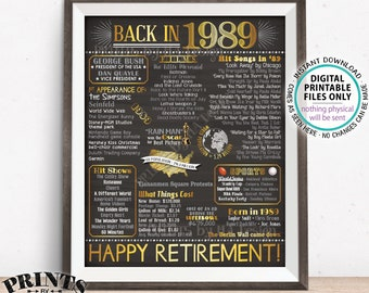 "Back in 1989 Retirement Party Poster Board, Flashback to 1989 Sign, PRINTABLE 16x20"" Retirement Party Decoration <ID>"