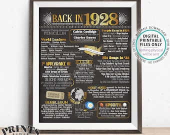 "1928 Flashback Poster, Flashback to 1928 USA History Back in 1928 Birthday Anniversary Reunion, PRINTABLE 16x20"" Sign <ID>"