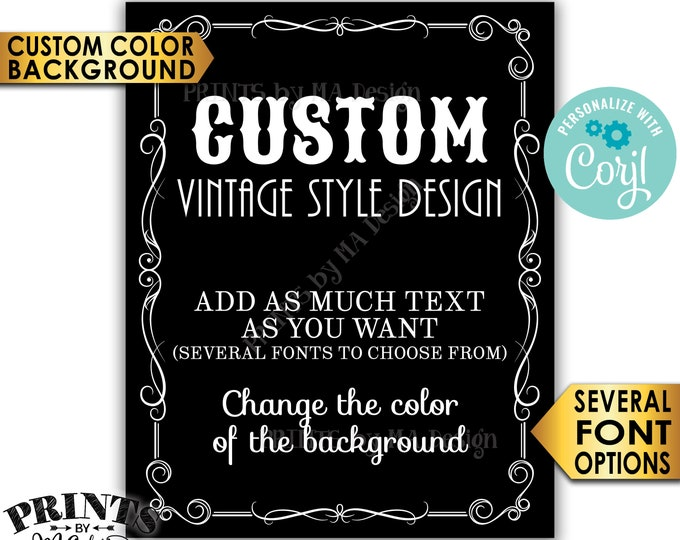 "Custom Vintage Style Sign, Better with Age Liquor Themed Party, Color Background, One PRINTABLE 8x10/16x20"" Sign <Edit Yourself with Corjl>"