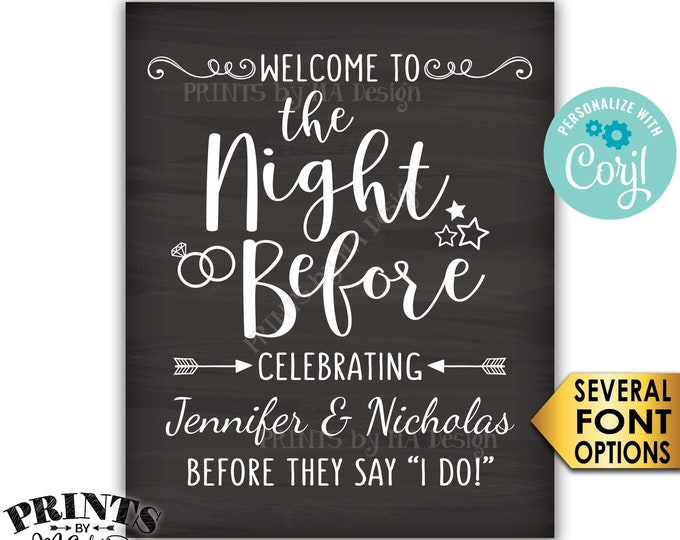 The Night Before Sign, Welcome to the Night Before Rehearsal Dinner Sign, PRINTABLE Chalkboard Style Sign <Edit Yourself with Corjl>