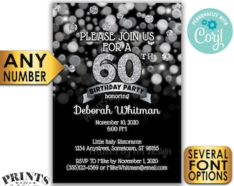 "Birthday Party Invitation, Any Birthday, PRINTABLE 5x7"" Black and Silver Glitter Bday Invite Card <Edit Yourself with Corjl>"