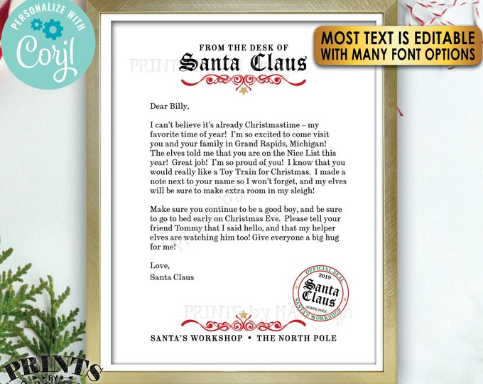 "Letter from Santa Claus, Custom Santa Letter Template, Customize One Editable PRINTABLE 8.5x11"" Digital File <Edit Yourself with Corjl>"