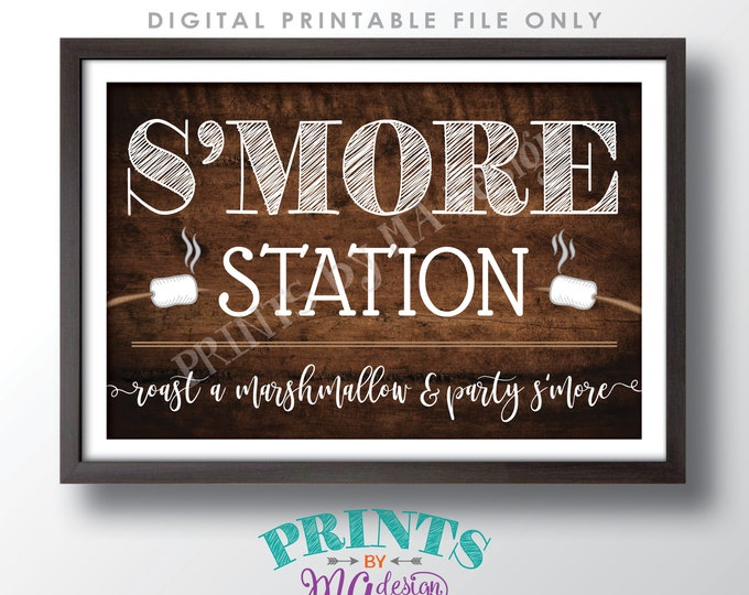"""S'more Station Sign, Roast a Marshmallow and Party S'more, PRINTABLE 20x30"""" Rustic Wood Style Smore Sign <ID>"""
