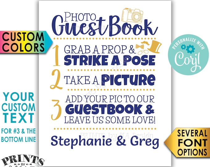 """Photo Guestbook Sign, Custom Step Number 3 and Bottom Line of Text, Custom Colors, PRINTABLE 8x10/16x20"""" Sign <Edit Yourself with Corjl>"""