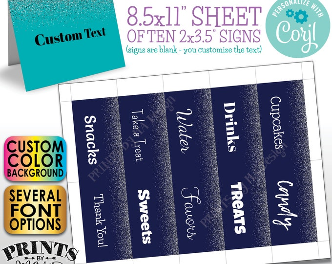 """Custom Silver Glitter Place Cards, Buffet Food Labels, One Custom PRINTABLE 8.5x11"""" Sheet of 2x3.5"""" Cards <Edit Yourself with Corjl>"""