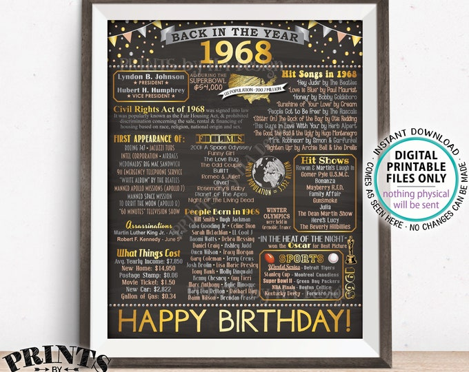 """Back in 1968 Birthday Sign, Flashback to 1968 Poster Board, 1968 B-day Gift, Bday Decoration, PRINTABLE 16x20"""" Sign <ID>"""
