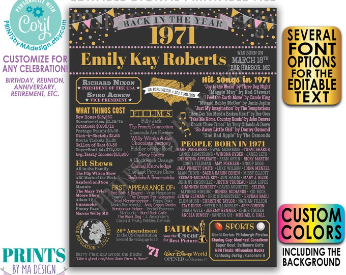 """Back in 1971 Poster, Birthday Anniversary Reunion, Custom PRINTABLE 16x20"""" 1971 Flashback Sign <Edit Yourself with Corjl>"""
