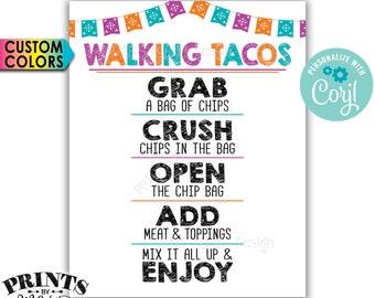 "Walking Tacos Sign, Cinco de Mayo Taco Bar Fiesta, Custom Colors PRINTABLE 8x10/16x20"" Taco Sign <Edit Colors Yourself with Corjl>"