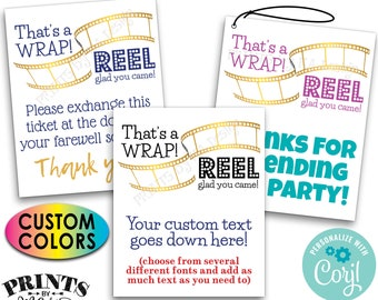 "That's a wrap Reel Glad You Came, Movie Theme, Oscars Party Favor Cards, PRINTABLE 8.5x11"" Sheet of 4x5"" Cards <Edit Yourself w/Corjl>"