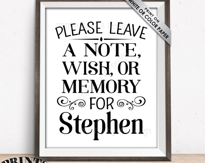 "Please Leave a Note Wish or Memory Sign, Leave a Message Sign, Custom PRINTABLE 8x10/16x20"" Sign"