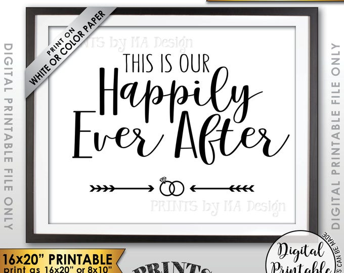 """This Is Our Happily Ever After Wedding Sign, Welcome to Our Wedding Welcome Sign, Reception Decor, 8x10/16x20"""" Printable Instant Download"""