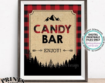 "Lumberjack Candy Bar Sign, Candy Buffet, Red & Black Checker PRINTABLE 8x10"" Candy Sign, Buffalo Plaid Christmas Trees Decorations <ID>"