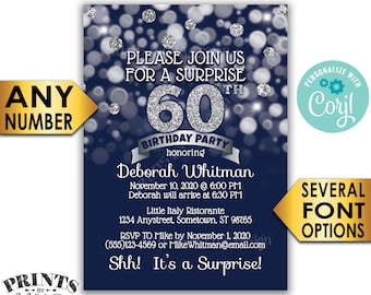 "Surprise Birthday Party Invitation, Any Birthday, Navy & Silver Glitter PRINTABLE 5x7"" Surprise Bday Invite Card <Edit Yourself with Corjl>"
