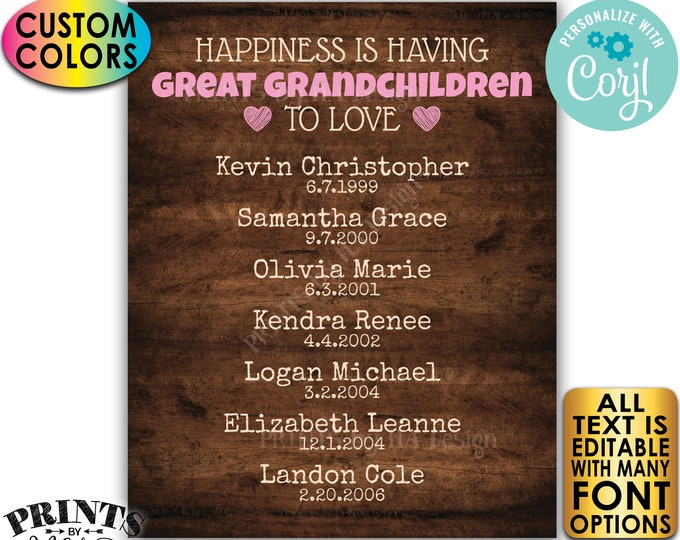 Great Grandparent Gift, List of Great Grandkids, PRINTABLE Rustic Wood Style Great Grandchildren Sign <Edit Yourself w/Corjl>
