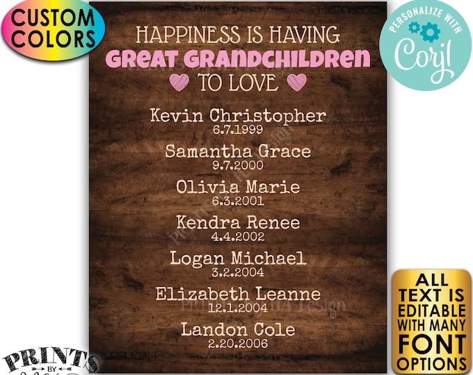 Great Grandparent Gift, List of Great Grandkids, PRINTABLE Rustic Wood Style Great Grandchildren Sign <Edit Yourself w/Corjl>
