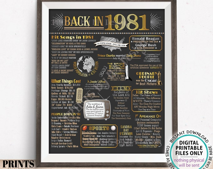 """Back in 1981 Poster Board, Flashback to 1981, Remember 1981, USA History from 1981, PRINTABLE 16x20"""" Sign <ID>"""