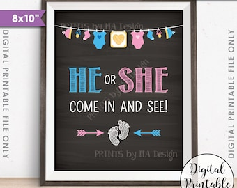 "Gender Reveal Sign, He or She Come In and See Gender Reveal Party, Pink or Blue Sign, Chalkboard Style PRINTABLE 8x10"" Instant Download Sign"