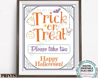 """Trick or Treat Sign, Please Take Two, Help Yourself to Candy, Festive PRINTABLE 8x10/16x20"""" Halloween Treats Sign, Spider, Ghost <ID>"""