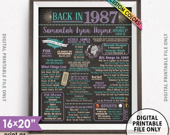 "31st Birthday Flashback to 1987 Poster, Back in 1987 Birthday Party 1987 Custom Chalkboard Style PRINTABLE 8x10/16x20"" 1987 Flashback Sign"