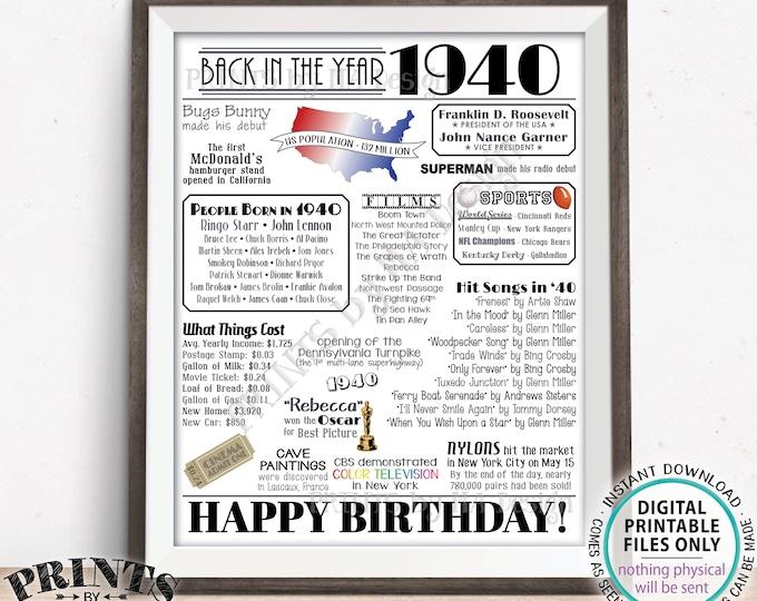 "Back in 1940 Birthday Poster Board, Flashback to 1940 Birthday Decoration, PRINTABLE 16x20"" Sign, Birthday Decor, 1940 B-day Gift <ID>"