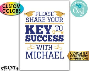 "Graduation Advice Sign, Please share your Key to Success with the Graduate, Custom Colors, PRINTABLE 5x7"" Sign <Edit Yourself w/Corjl>"