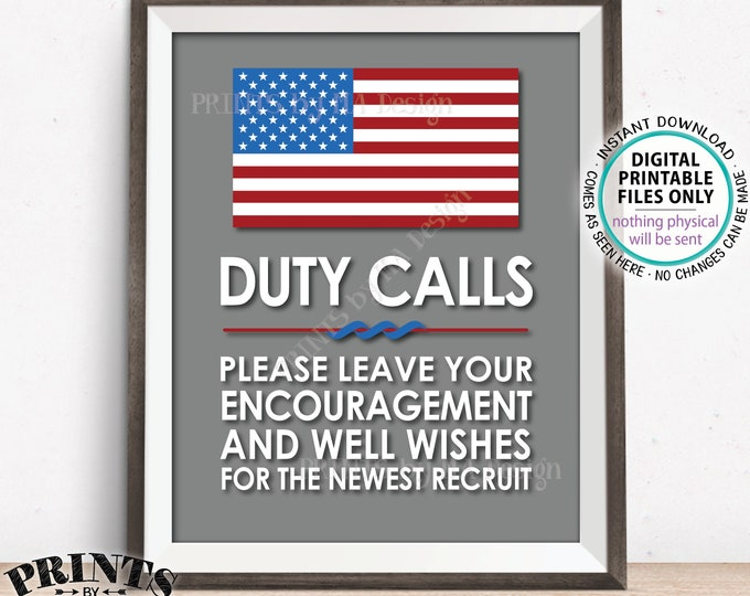"Military Party Decor, Leave your Encouragement and Well Wishes, Boot Camp, Armed Forces, Army Navy Air Foce, PRINTABLE 8x10/16x20"" Sign <ID>"