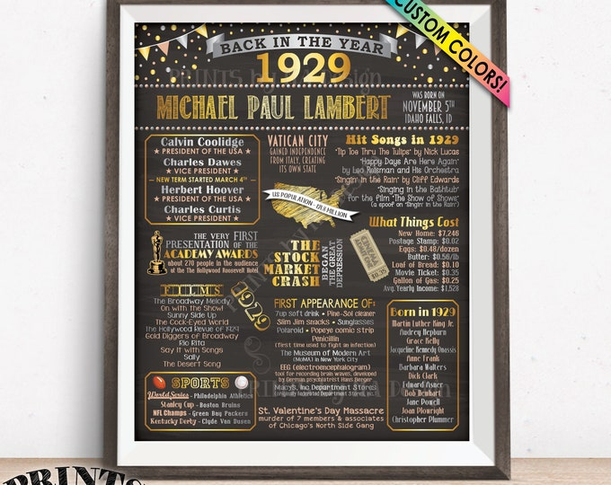 "1929 Birthday Poster Board, Back in 1929 Birthday Decoration, B-day Gift, Custom PRINTABLE 16x20"" Flashback 1929 Sign"