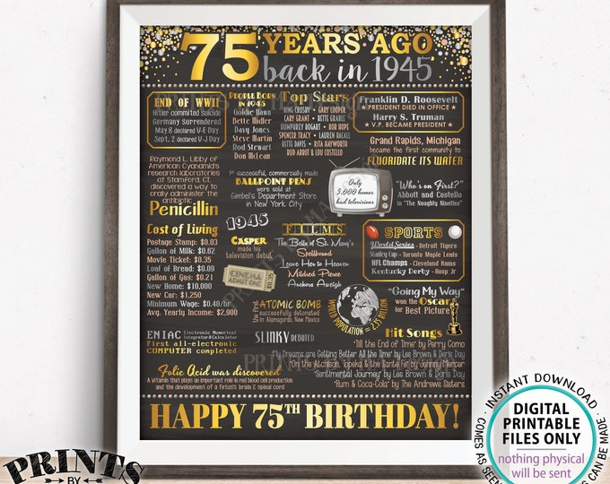 "75th Birthday Poster Board, Back in the Year 1945 Flashback 75 Years Ago, Born in 1945 Bday Decor, PRINTABLE 16x20"" Sign <ID>"