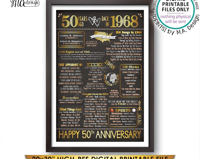 """50th Anniversary Gift, 1968 Flashback 50 Years Back in 1968, Married in 1968 Anniversary, Gold, PRINTABLE 20x30"""" Chalkboard Style Sign <ID>"""