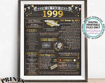 "Back in 1999 Poster Board, Remember 1999, Flashback to 1999, USA History from 1999, PRINTABLE 16x20"" Sign <ID>"
