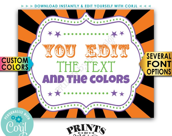 """Custom Halloween Sign, Carnival or Circus Theme Party Sign, Choose Text, One PRINTABLE 8x10/16x20"""" Sign <Edit Yourself with Corjl>"""