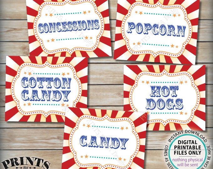 """Carnival Food Signs, Carnival Theme Party, Popcorn, Cotton Candy, Hot Dogs, Candy, Circus Theme Party, PRINTABLE 8x10/16x20"""" Food Signs <ID>"""