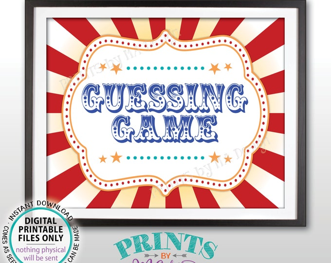 """Guessing Game Sign, Guess How Many, Guess the Candy, Carnival Theme Party Games, Circus Themed PRINTABLE 8x10/16x20"""" Carnival Sign <ID>"""