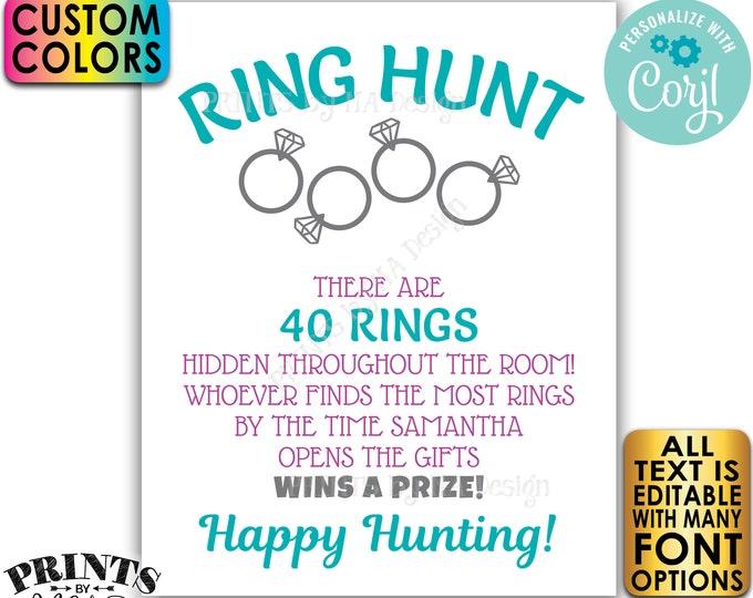 "Bridal Shower Ring Hunt Game Sign, Wedding Shower Scavenger Hunt, Custom PRINTABLE 8x10/16x20"" Ring Hunt Sign <Edit Yourself with Corjl>"