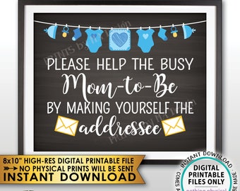 """Address an Envelope Baby Shower Help the Mom-to-Be Address Envelope, It's a Boy Blue Clothesline, Chalkboard Style PRINTABLE 8x10"""" Sign <ID>"""