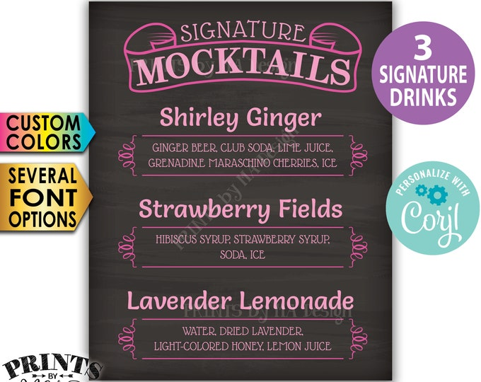 "Signature MOCKtails Sign, 3 Non-Alcoholic Beverages, Custom PRINTABLE 8x10/16x20"" Chalkboard Style Drinks Sign <Edit Yourself w/Corjl>"