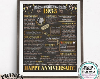 "Back in the Year 1955 Anniversary Sign, Flashback to 1955 Anniversary Decor, PRINTABLE 16x20"" Poster Board, Anniversary Gift <ID>"