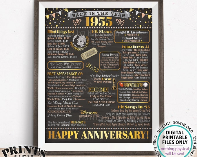 """Back in the Year 1955 Anniversary Sign, Flashback to 1955 Anniversary Decor, PRINTABLE 16x20"""" Poster Board, Anniversary Gift <ID>"""