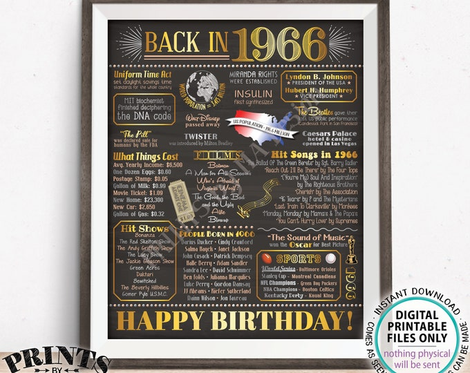 """Back in the Year 1966 Birthday Sign, Flashback to 1966 Poster Board, '66 B-day Gift, Bday Decoration, PRINTABLE 16x20"""" Sign <ID>"""