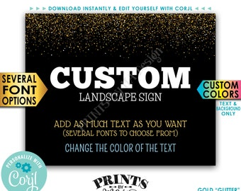"Custom Gold Glitter Sign, Choose Your Text, Edit Colors (text/background), PRINTABLE 8x10/16x20"" Landscape Sign <Edit Yourself with Corjl>"
