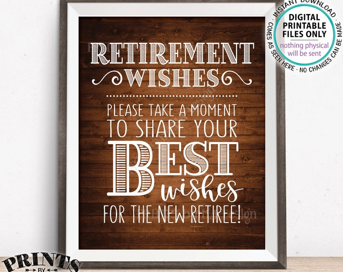 """Retirement Wishes Sign, Retirement Party Decoration, Celebrate the New Retiree, Rustic Wood Style PRINTABLE 8x10/16x20"""" Retirement Sign <ID>"""