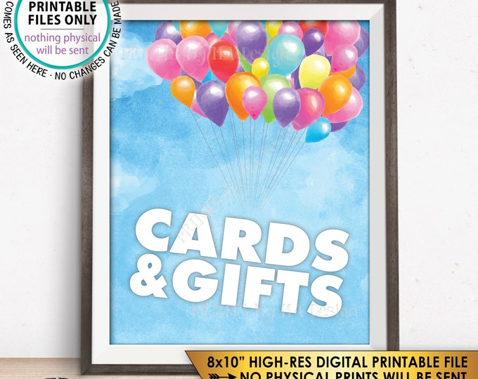 "Cards and Gifts Sign, Balloon Cards & Gifts Sign, Baby Shower Gift Table Sign Balloons Up Sky, Girl, PRINTABLE 8x10"" Watercolor Style Sign"