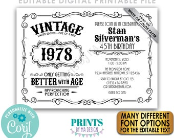 """Vintage Birthday Party Invitation, Better with Age Bday Invite, Whiskey Liquor, B&W PRINTABLE 5x7"""" Landscape File <Edit Yourself w/Corjl>"""