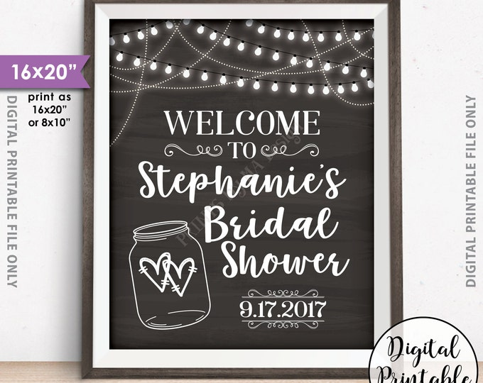 """Bridal Shower Welcome Sign, Personalized Shower Welcome Poster, Wedding Shower Sign, Lights & Jar, 8x10/16x20"""" Chalkboard Style Printable"""