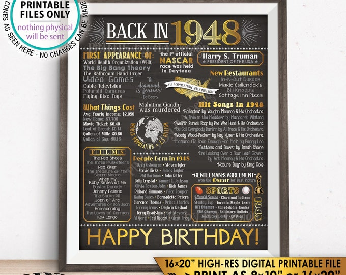 "1948 Flashback Poster, Birthday Flashback to 1948 USA History Back in 1948, Birthday, Gold, Chalkboard Style PRINTABLE 16x20"" Sign <ID>"